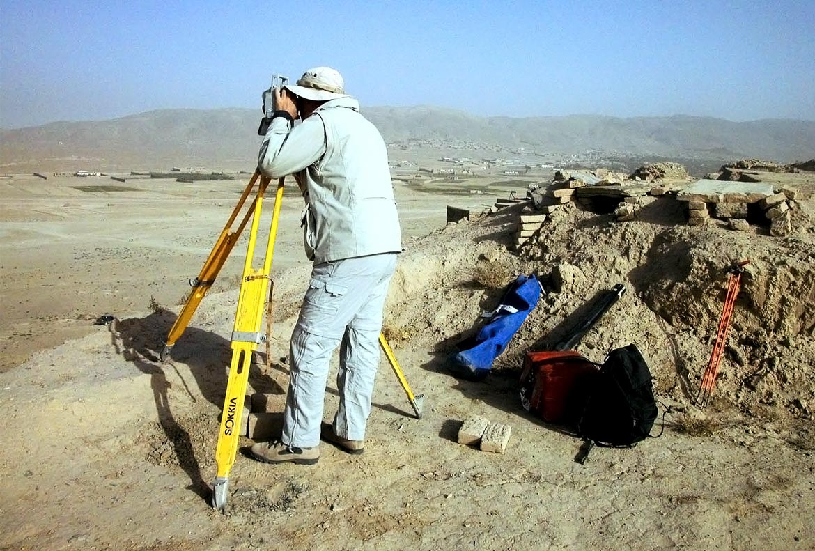 Topographic survey during excavation at Tepe Sardar - Afghanistan