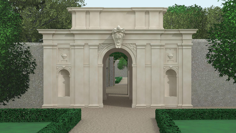 Restituzione grafica 3D della Torretta dei Giardini del Quirinale - Roma