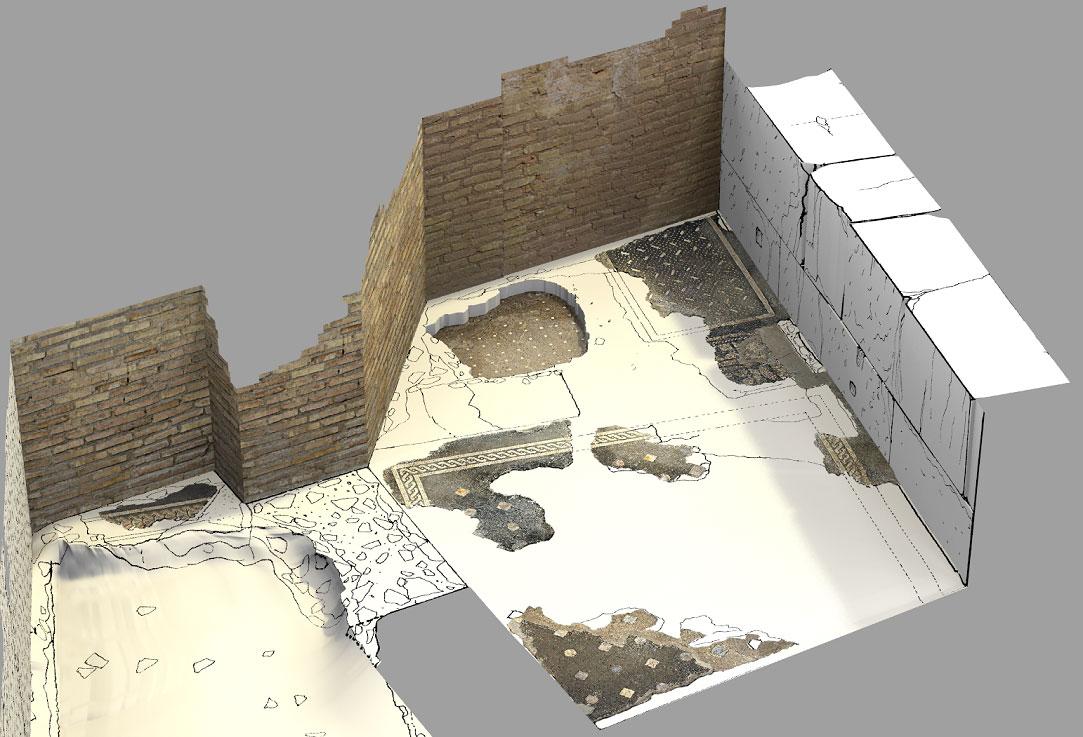Disegno di scavo in 3D, giardini del Quirinale - Roma