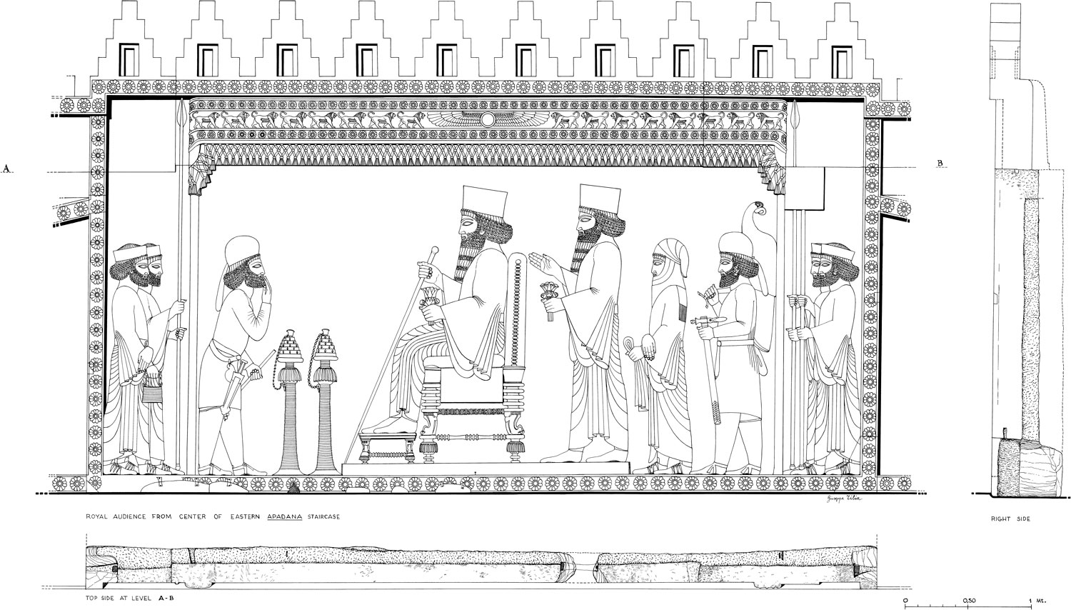 Drawing of a bas-relief of Persepolis - Iran