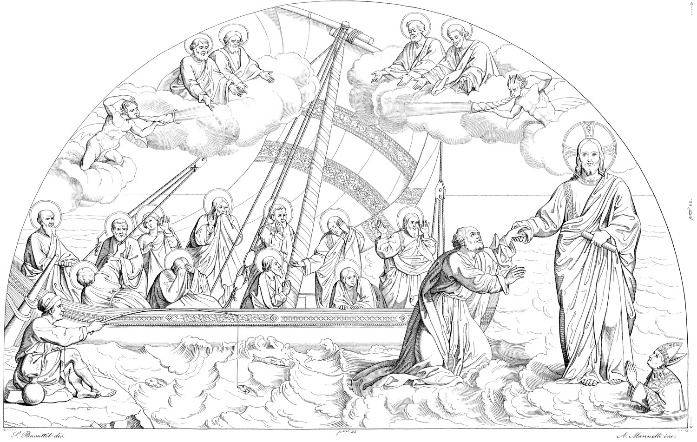 Rilievo del mosaico della Navicella in Vaticano
