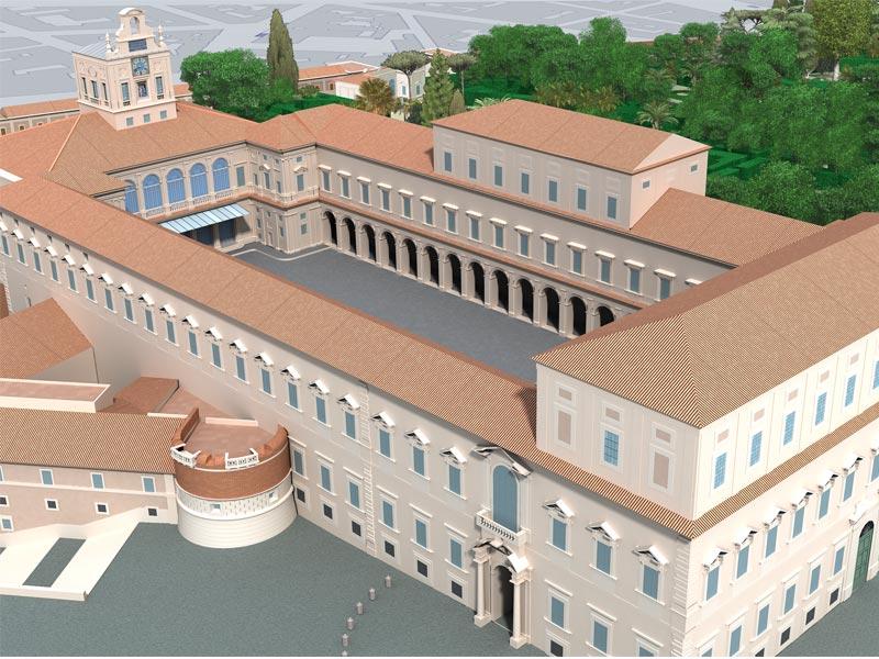 Architettura restituzione grafica 3D Palazzo del Quirinale Studio 3R
