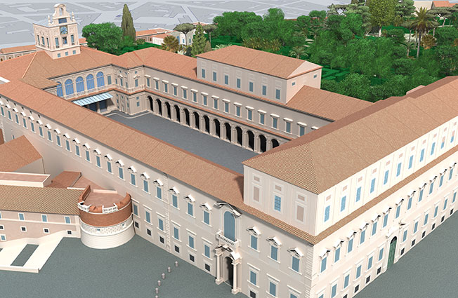 3D Graphic Rendering of the Palace of the Quirinale - Rome