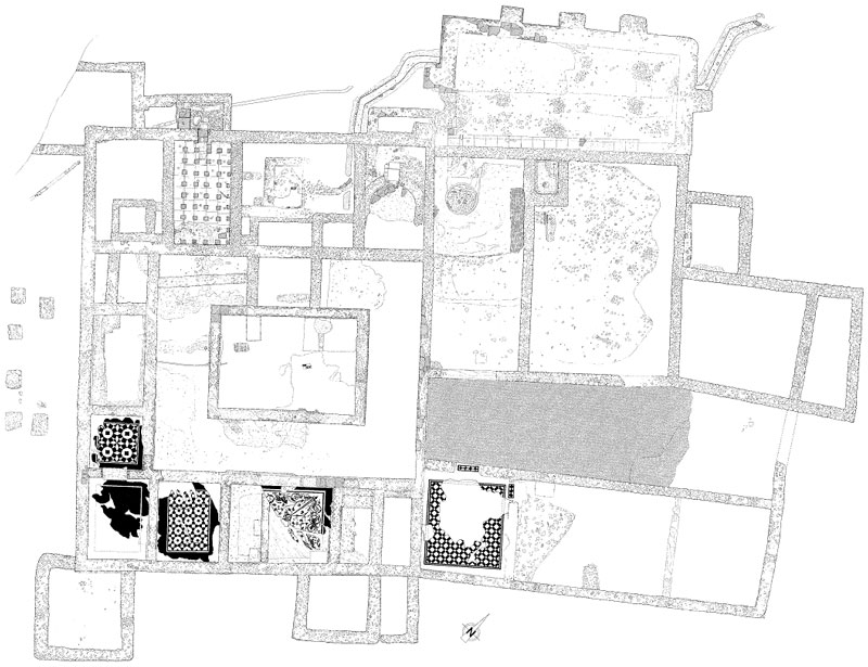 Planimetric survey of an excavation in Ostia Antica - Rome
