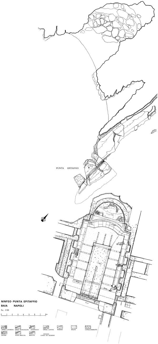 Underwater survey of a detail of the submerged Nymphaeum of Punta Epitaffio, Baia di Pozzuoli